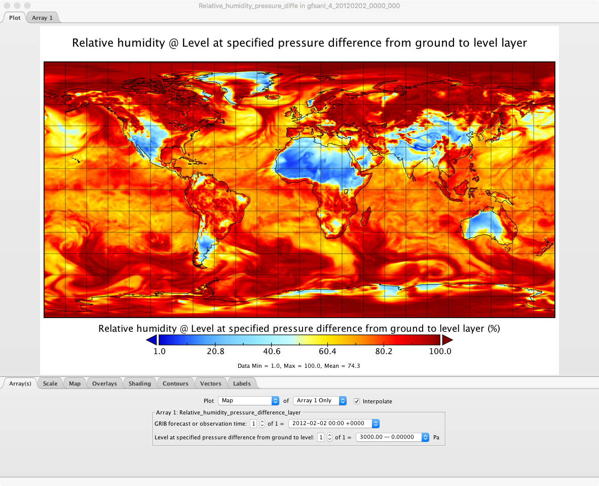 Relative humidity @ Level at specified pressure difference from ground to level layer; Photo Credit: © Scott Paine
